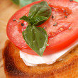 Bruschetta with tomato, mozzarella and basil — Stockfoto
