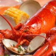 Boiled lobster dinner with clams and corn — Stock Photo #12466310