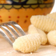 Freshly made Gnocchi using a fork — Stock Photo