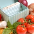 Recipe box with ingredients for spaghetti - Stock Photo