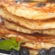 Delecious blueberry pancakes — Stock Photo