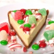 Festive Christmas Cheesecake with assorted candies — Stock Photo