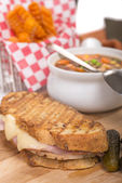 Panini with vegetable soup — Stock Photo