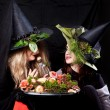 Beautiful women in the Halloween — Stock Photo