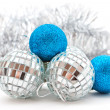 Silver and blue Christmas decorations — Stock Photo #13681662