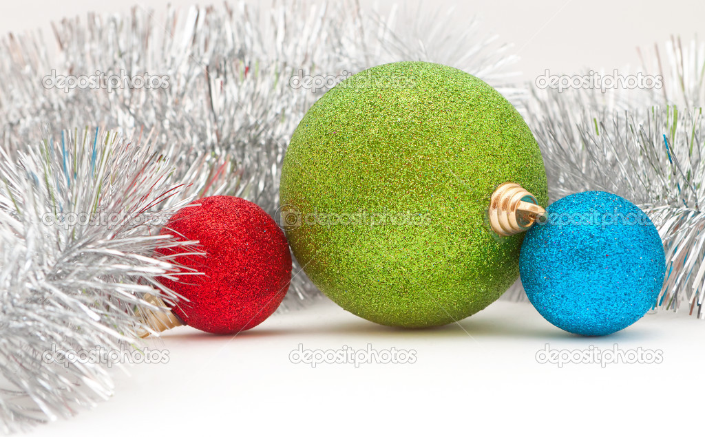 Christmas decorations: colored balls and the garland — Stock Photo #13681616