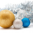Silver and gold Christmas decorations — Stock Photo