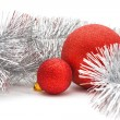 Red balls and garland — Stock Photo