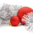 Stock Photo: Red balls and garland