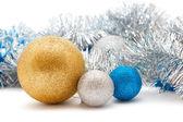 Srebra i złota ozdoby świąteczne — Zdjęcie stockowe