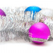 Christmas decorations and garland — Stock Photo