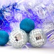 Christmas balls with colored lights — Stock Photo