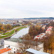 Top view of Vilnius and the River Neris — Stock Photo