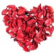 Dry red rose petals in heart shape — Stock Photo #19173591
