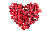 Dry red rose petals in heart shape — Stock Photo