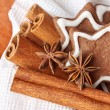 Chocolate Christmas cookies in the shape of stars — Stock Photo