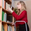 Librarian rearranges books — Lizenzfreies Foto