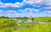 Cloudy landscape with pond — Stock Photo