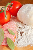 Ingredients for preparing pizza — Stock Photo