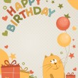 Royalty-Free Stock Vector Image: Cute happy birthday card a cat