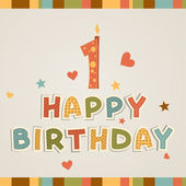 Birthday candle - number one — Stock Vector