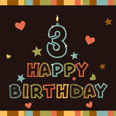 Happy birthday. Number three — Stock Vector