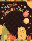 Cute Merry Christmas card a cat — Stock Vector