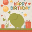 Elephant birthday greeting — Stock Vector