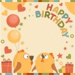 Vector birthday party card with cute birds - Stok Vektör