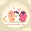 Couple of cute cats in love vector illustration — Stock Vector