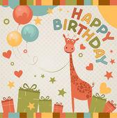 Carte de mignon joyeux anniversaire avec girafe. — Vecteur