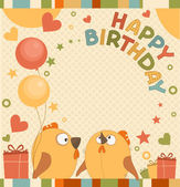 Vector birthday party card with cute birds — Stok Vektör