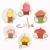 Set of cute cupcakes — Stock Vector