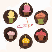 A set of 6 different cakes — Stock Vector