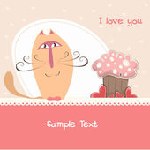 Postcard Valentine's day with the cat and the cake — Stock Vector
