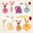 Set of rabbits — Stock Vector