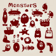 Stock Vector: Set of monsters