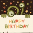Stock Vector: Birthday card with cute monster