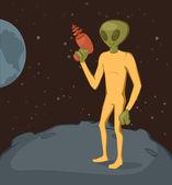 Green alien on moon — Stock Vector