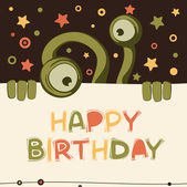 Birthday card with cute monster — Stock Vector