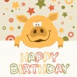 Piggy Invitation Card - Stock Vector
