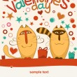 Valentine day cats — Stock Vector