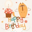Cute happy birthday card. — Stock Vector #18547761