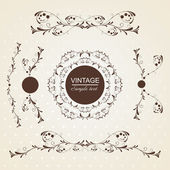 Set of vintage floral frame. — Stock Vector