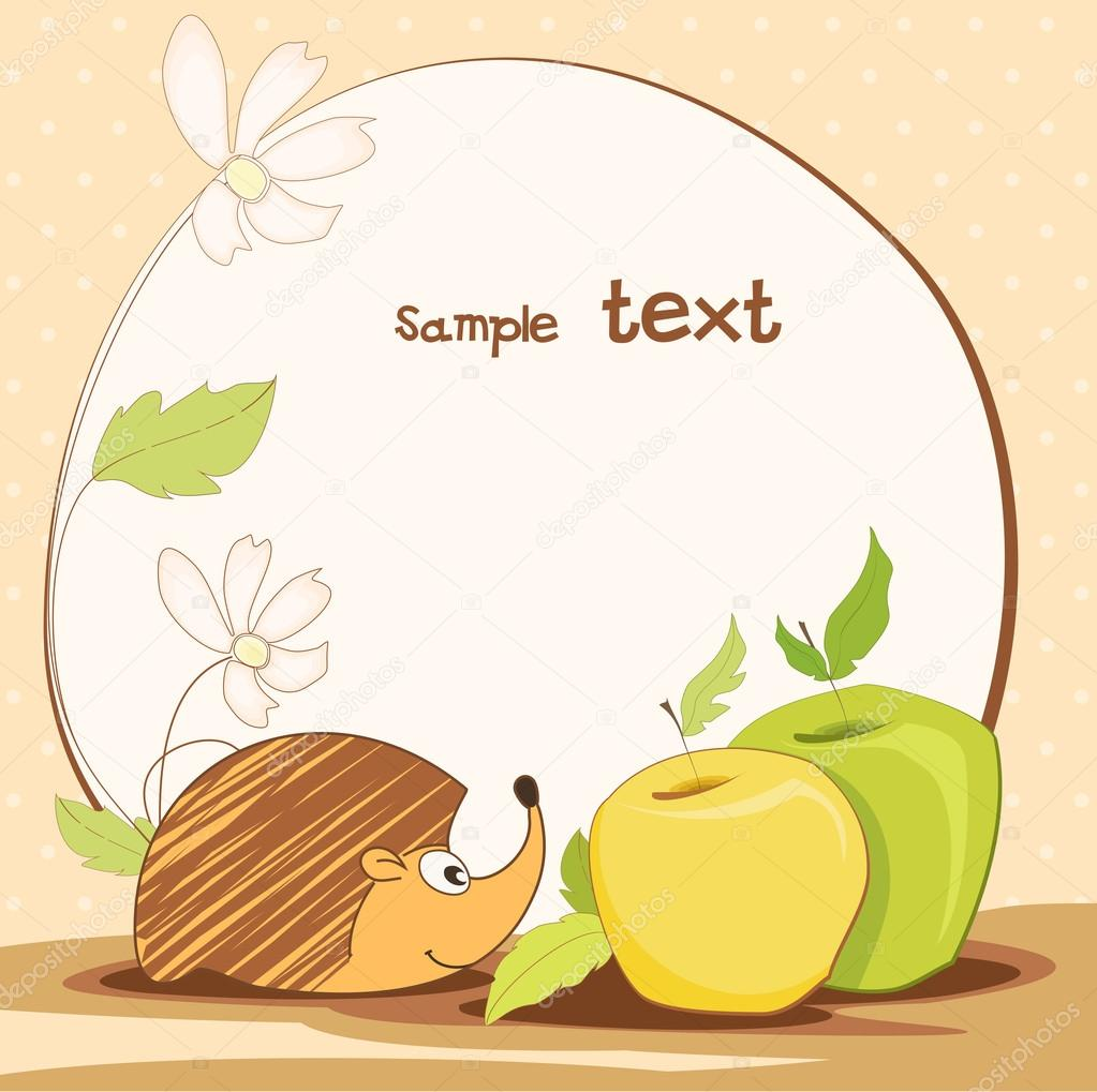 Cute frame design with hedgehog, and apples. vector illustration — Stock Vector #18547329