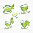 Cups tea and green leaves. — Stock Vector #23867033