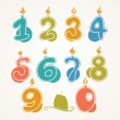 Illustration of Number-Shaped Birthday Candles — Stock Vector