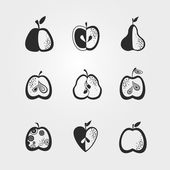 Black and white icon with fruits. — Stock Vector