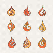 Set of fire icons.Vector illustration — Stock Vector