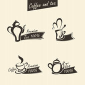 Set of coffee and tea labels — Stock Vector